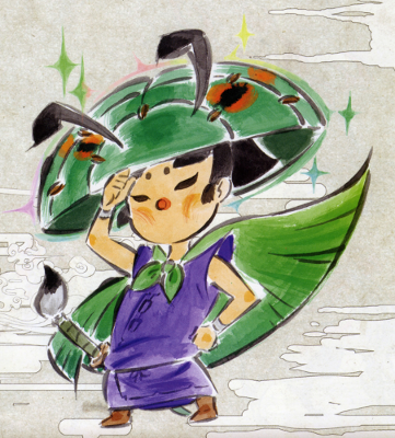 Okami's depiction of Issun-boshi.